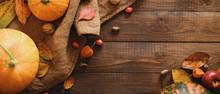 Autumn Frame Made Of Pumpkins,...