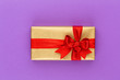 Leinwanddruck Bild - Christmas gift boxes with ribbons on color tabletop.