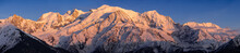 Mont Blanc Mountain Range At Sunset. Aiguille Du Midi Needle, Mont Blanc Du Tacul, Bossons Glacier, Mont Blanc. Chamonix, Haute-Savoie, Alps, France