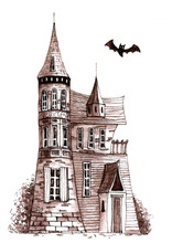 Old Victorian House With Bat. Hand Drawn Ink Pen Illustration.