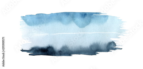 Abstract watercolor and ink landscape blot painted background. Texture paper