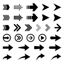 Set Of Vector Arrow Icons. Collection Of Pointers.