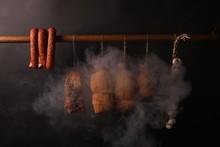Traditional Smokehouse. Sausag...