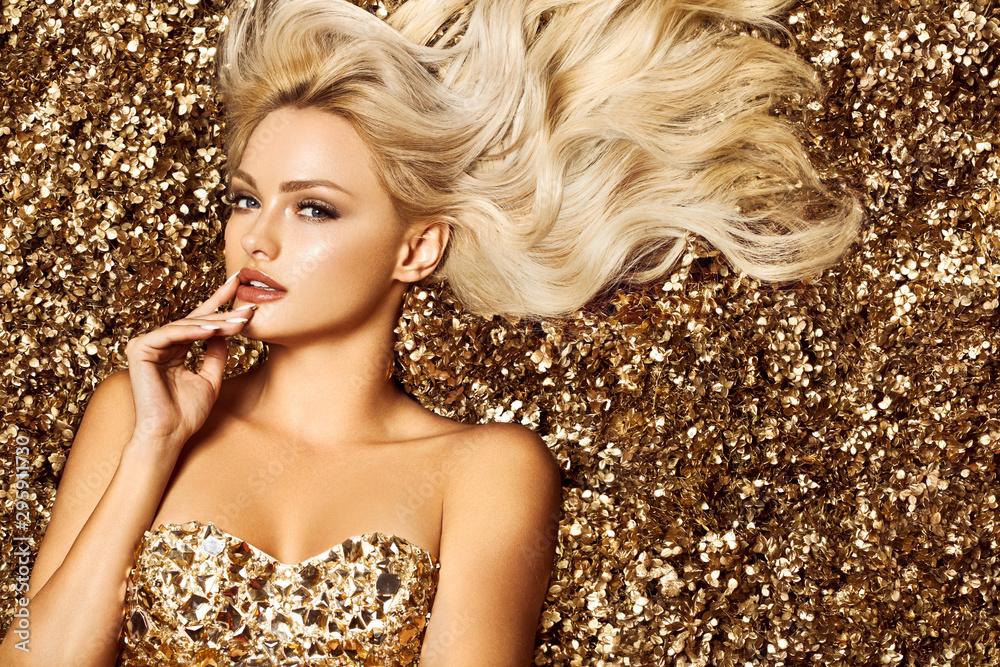 Fototapety, obrazy: Beautiful blonde woman in golden flowers garden