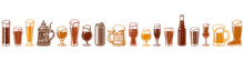 Various Types Of Beer Glasses And Mugs. Seamless Border. Hand Drawn Engraving Style Vector Illustration Isolated On White Background.