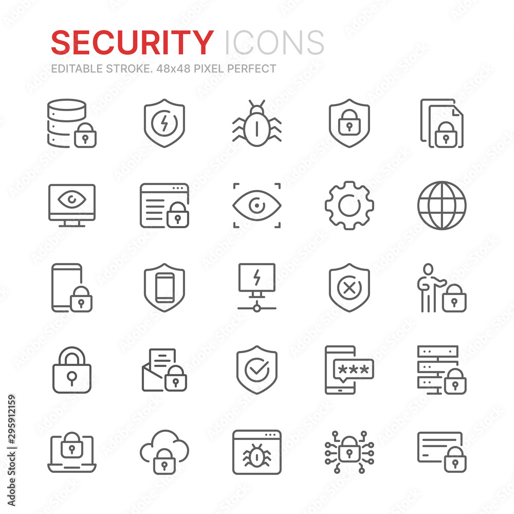 Fototapeta Collection of internet security related line icons. 48x48 Pixel Perfect. Editable stroke