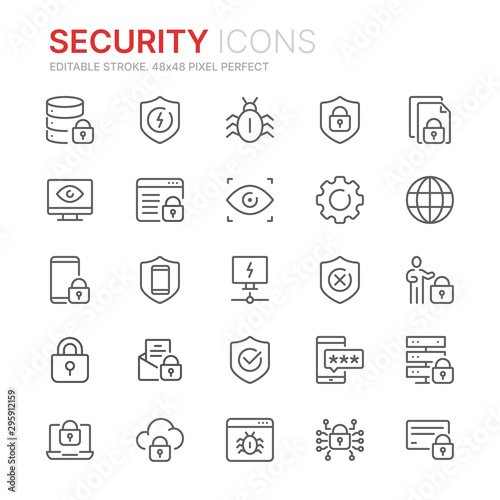 Canvastavla Collection of internet security related line icons