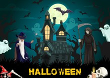 Haunted House With Halloween Ghosts, Wizard, Bats
