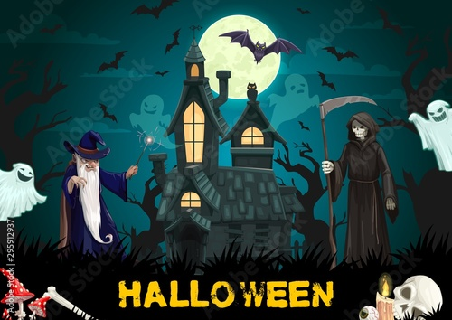 Photo sur Aluminium Graffiti collage Haunted house with Halloween ghosts, wizard, bats
