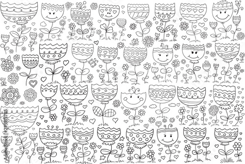 Spoed Fotobehang Cartoon draw Doodle Flowers Vector Illustration Art Set