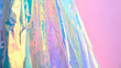 canvas print picture - Real Hologram Background of wrinkled abstract foil texture with multiple colors. Holographic iridescent color wrinkled foil. Blue neon pastel holographics gradient mesh template background or surface