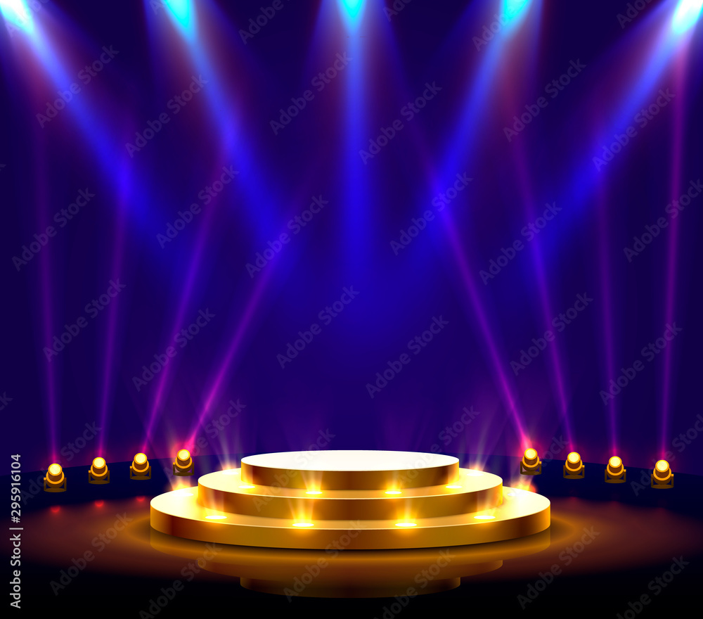 Fototapeta Stage podium with lighting, Stage Podium Scene with for Award Ceremony on blue Background.