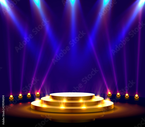 Fotografía Stage podium with lighting, Stage Podium Scene with for Award Ceremony on blue Background