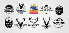 Set Of Vector Hunting And Outdoor Adventures Vintage Logo Designs Illustration