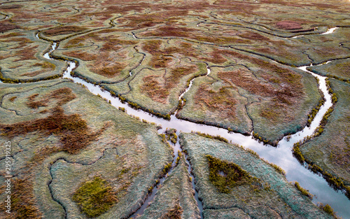 Aerial view of tidal marshland Tablou Canvas
