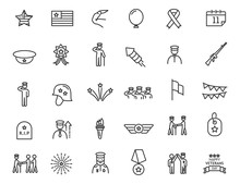 Set Of Linear Veterans Day Icons. Military Icons In Simple Design. Vector Illustration