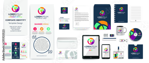 Fototapeta Creative colorful Corporate Identity Template Design set , Business stationery mock-up collection. obraz