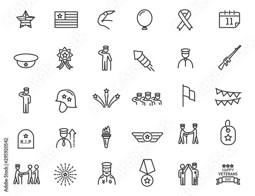 Obraz Set of linear Veterans Day icons. Military icons in simple design. Vector illustration - fototapety do salonu