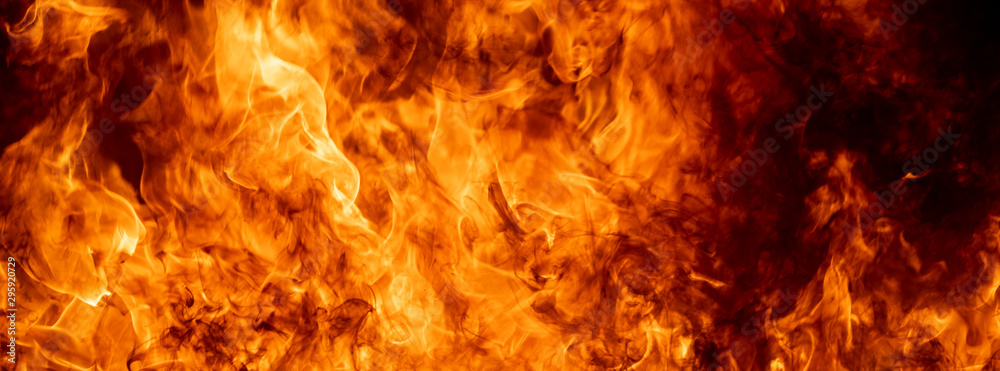 Fototapeta Close up hot fire flame burning glowing on black dark background