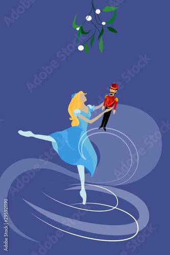 Fotomural  ballet Nutcracker, ballet dancer holds toy nutcracker under the misletoe surroun