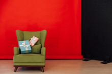 Red Black Background Chair Wit...