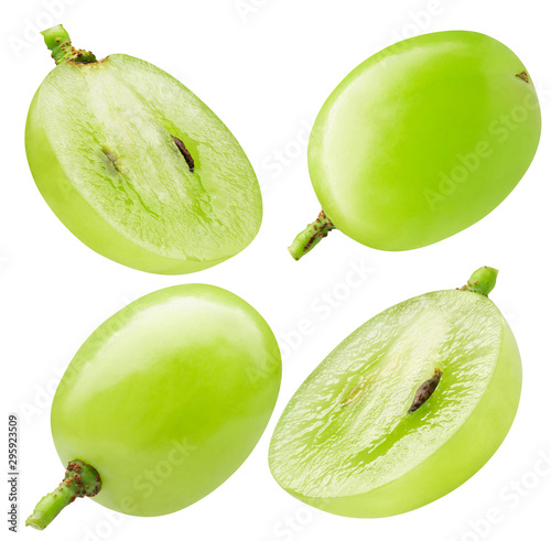 Fototapeta collection of single green grape isolated on a white background obraz