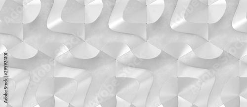 Fototapeten Künstlich 3D Wallpaper of white 3d hexagon tiles with relief waves. High quality seamless realistic texture.