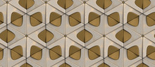 3D Wallpaper Of 3D Tiles Are Painted Old Gold Diamonds And Matte Gold Triangles With Gold Decorative Elements Of The Sphere. High Quality Seamless Realistic Texture.