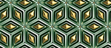 Wallpaper Of 3D Green Rhombuses With Green And Gold Decor Elements. Christmas Ornament. High Quality Seamless Realistic Texture.
