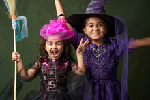 Cute Child Girl In Witch Costume For Halloween, Close-up