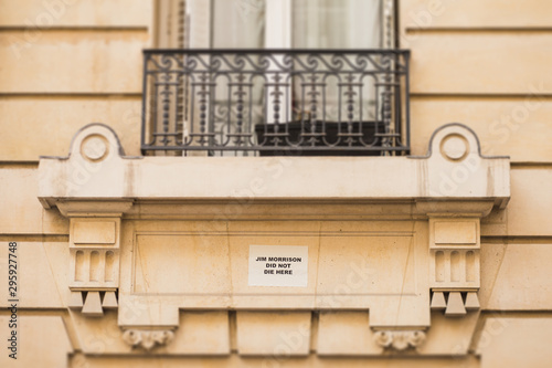 Photo  The inscription on the house in Paris where Jim Morrison from the Doors lived an