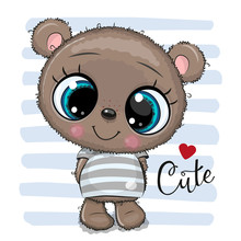 CartoonTeddy Bear Isolated On A On A Striped Background