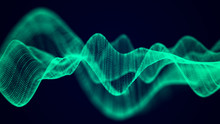 Abstract Technology Flow Background. Futuristic Green Dots Background With A Dynamic Wave. 3d Rendering.