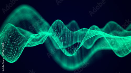 Foto auf Gartenposter Abstrakte Welle Abstract technology flow background. Futuristic green dots background with a dynamic wave. 3d rendering.