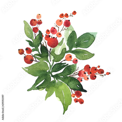 Fototapety, obrazy: Christmas watercolor bouquet arranging with holly berries and green leaves, isolated on white