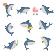 A Set Of Cute Cartoon Shark In...