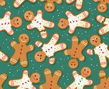 Seamless Holiday Gingerbread Man Pattern. Cute Design For Christmas Backgrounds, Wrapping Paper. Holiday Baking Theme.