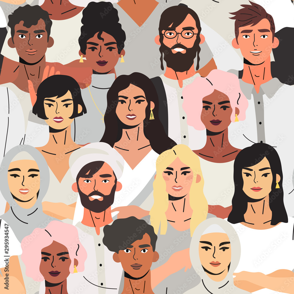 Fototapeta Treandy seamless pattern for textile, fabric and wrapping paper with multicultural group of high school and graduate students, coworkers or friends. Vector illustartion of a multiethnic people group.
