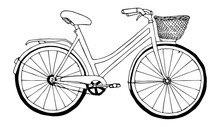 Retro Bicycle Sketch Black Lin...