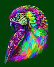 Macaw Parrot. Abstract, Neon Macaw Parrot Portrait On A Dark Green Background.