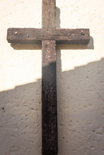Old Wooden Cross The White Background.