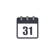 Calendar Vector Icon 31 Of December. Isolated Simple Illustration