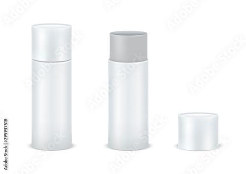 Cuadros en Lienzo Vector set blank white cardboard cylinder box mockup