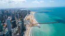 Fortaleza, Ceara / Brazil - Circa Octuber 2019: Aerial View Over Beira Mar, Fortaleza. Buildings Landscape On The Shore. Beiramar, Fortaleza.
