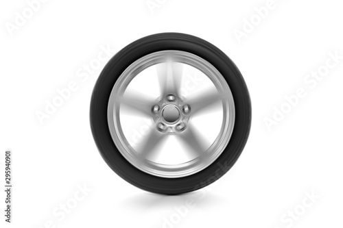 obraz lub plakat Spinning car wheel isolated on white background.