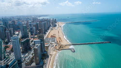 Cadres-photo bureau Brésil Fortaleza, Ceara / Brazil - Circa Octuber 2019: Aerial view over Beira Mar, Fortaleza. Buildings landscape on the shore. Beiramar, Fortaleza.