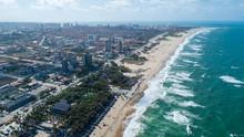 "Aerial View Of The Most Famous Beach Of Fortaleza / Brazil. ""Praia Do Futuro"" Tropical Beach."