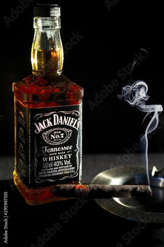 Minsk, Belarus - January 25, 2016: Bottle of Jack Daniel's near ashtray with smo Wallpaper Mural