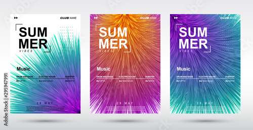 Obraz Creative electronic music fest and electro summer poster. Abstract plush gradients music background. - fototapety do salonu