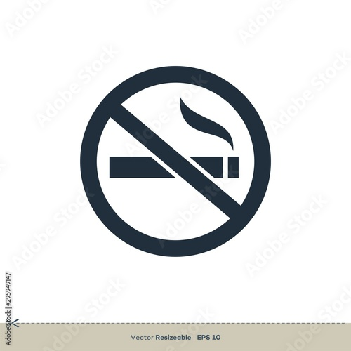 Valokuva No Smoking Icon Vector Logo Template Illustration Design